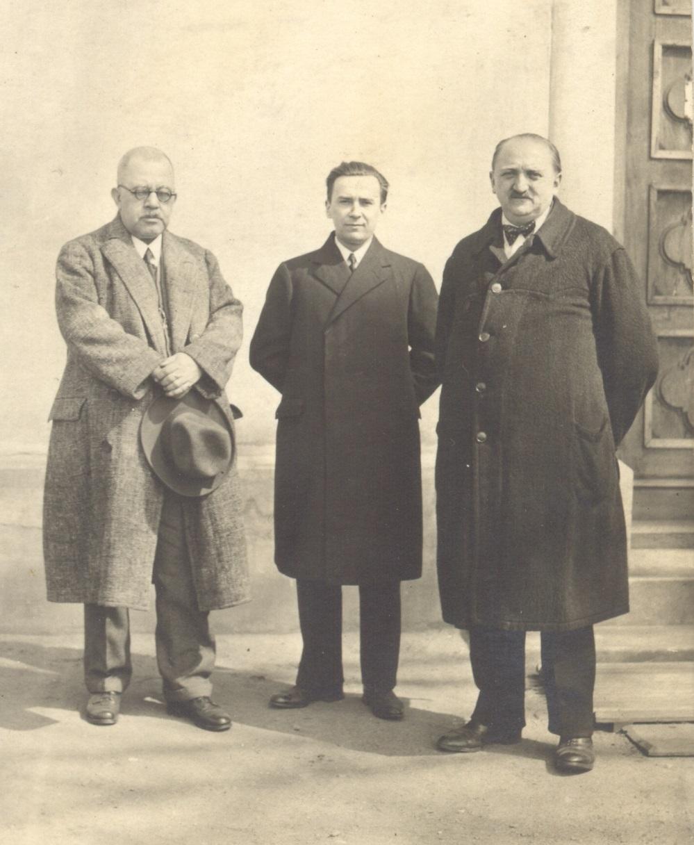 Čikl s předsedou obce Fleischmannem a jednatelem Coufalem